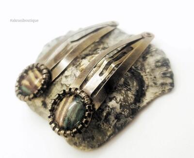 African wax print detail snap clip in dark silver | green, cream and brown hair clip | hair accessories