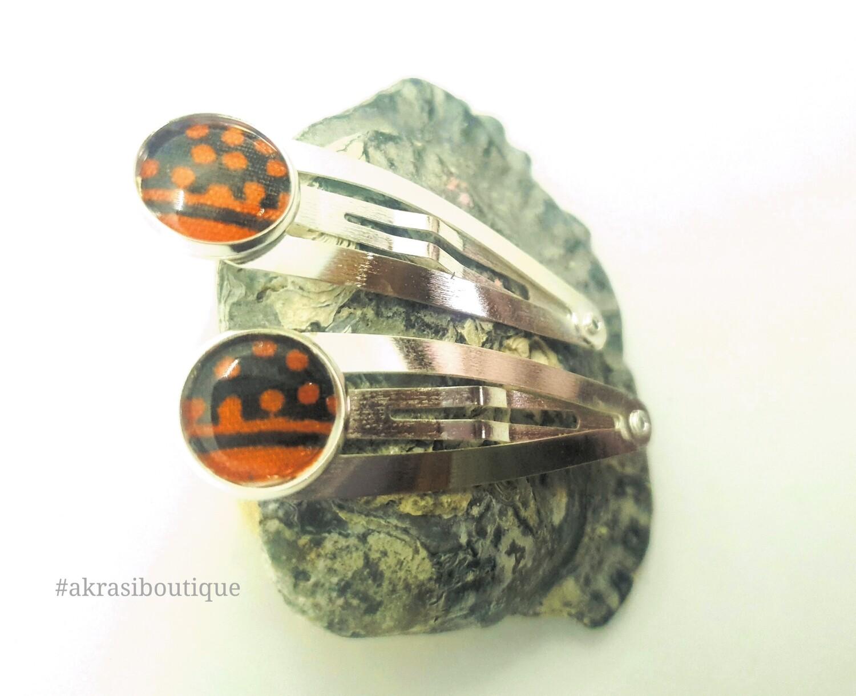African wax print detail snap clip in silver | blue and orange hair clip | hair accessories