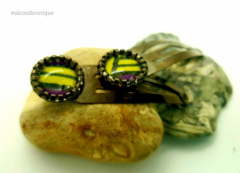 African wax print detail snap clip in dark silver   purple and yellow hair clip   hair accessories