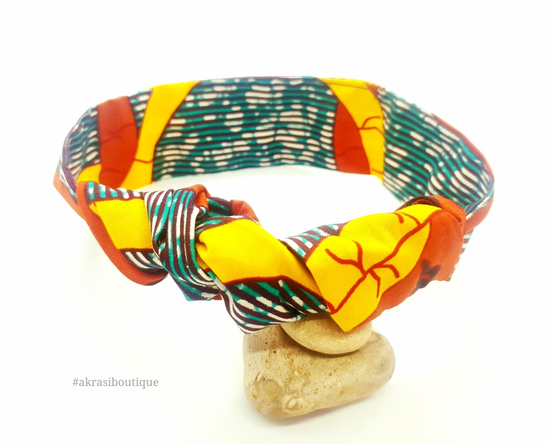 African wax print green, yellow and orange wire twist hair wrap   African print wire hair tie   Ankara print headtie   headwrap