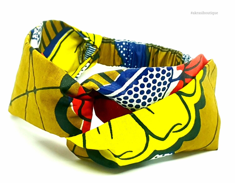 Ankara floral print half turban headband | African wax print headwrap | African twisted headband