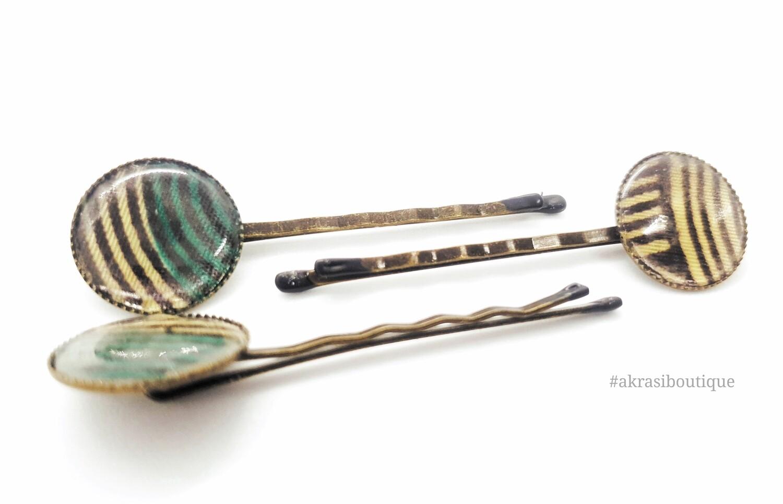 Ankara hair pin set in bronze   African print bobby pin   Ankara hair slide