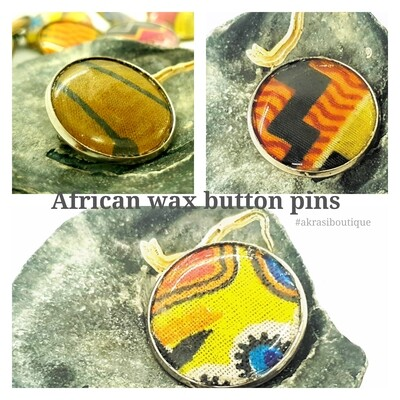 African wax print silver button pins   Ankara button badge   Kente pin