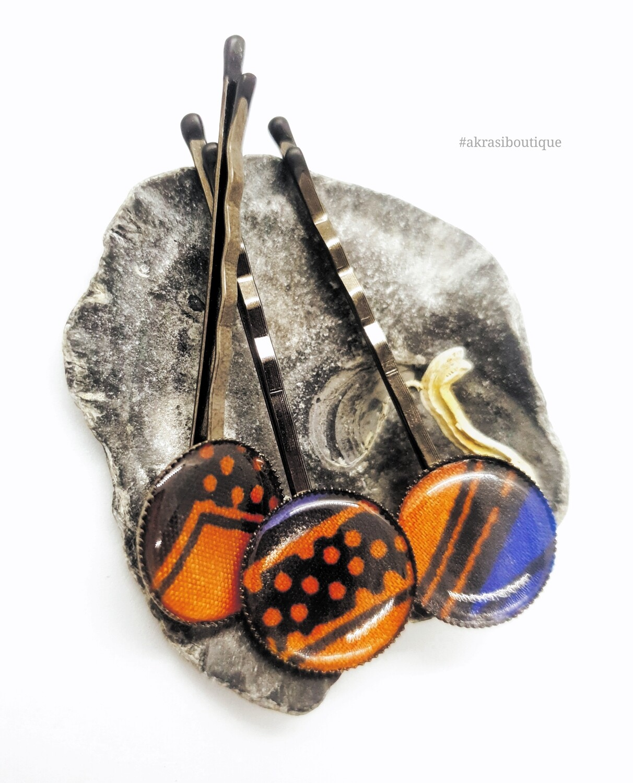 Ankara hair pin set in silver | African Bobby pin | Ankara hair slide
