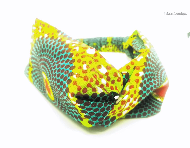 Ankara print green, blue and red turban headband |African print headwrap | headtie |  headband | hair tie