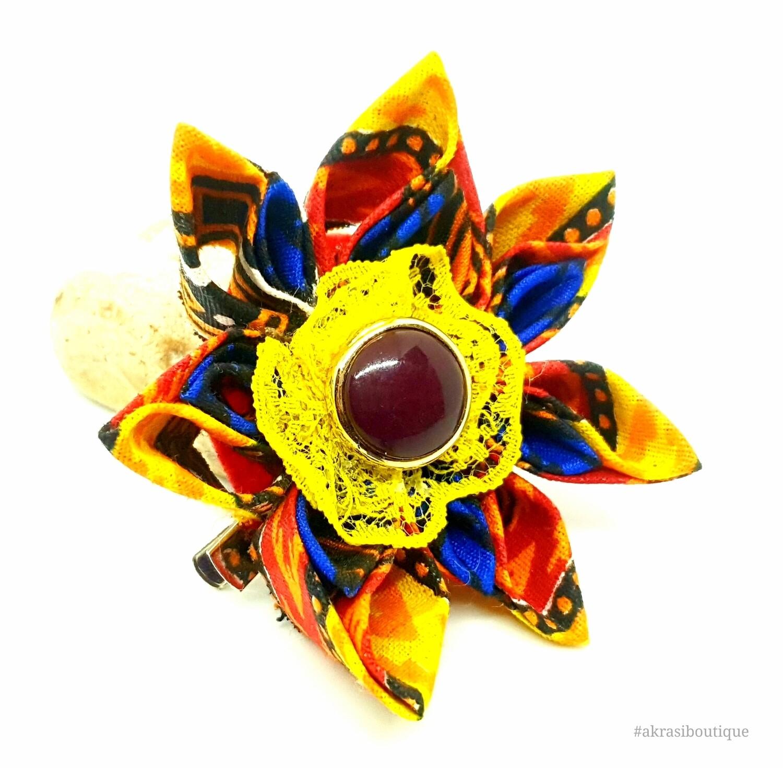 Dashiki print flower with lace & gemstone vintage button centre | flower pin | flower hair clip | flower brooch | clothing accessories