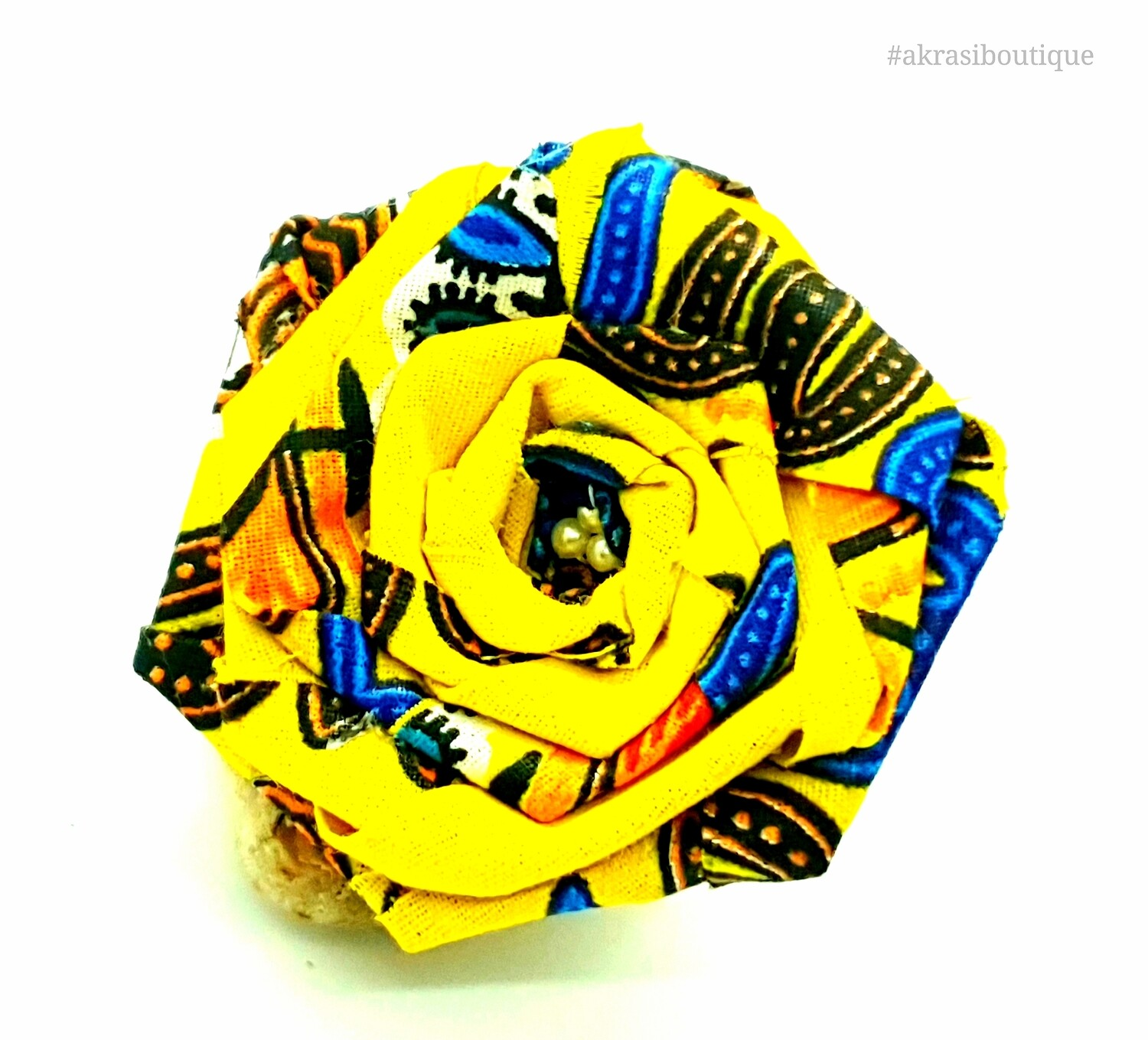 Dashiki yellow, blue and red rose flower with pearl centre | flower pin | flower hair clip | flower brooch | clothing accessories
