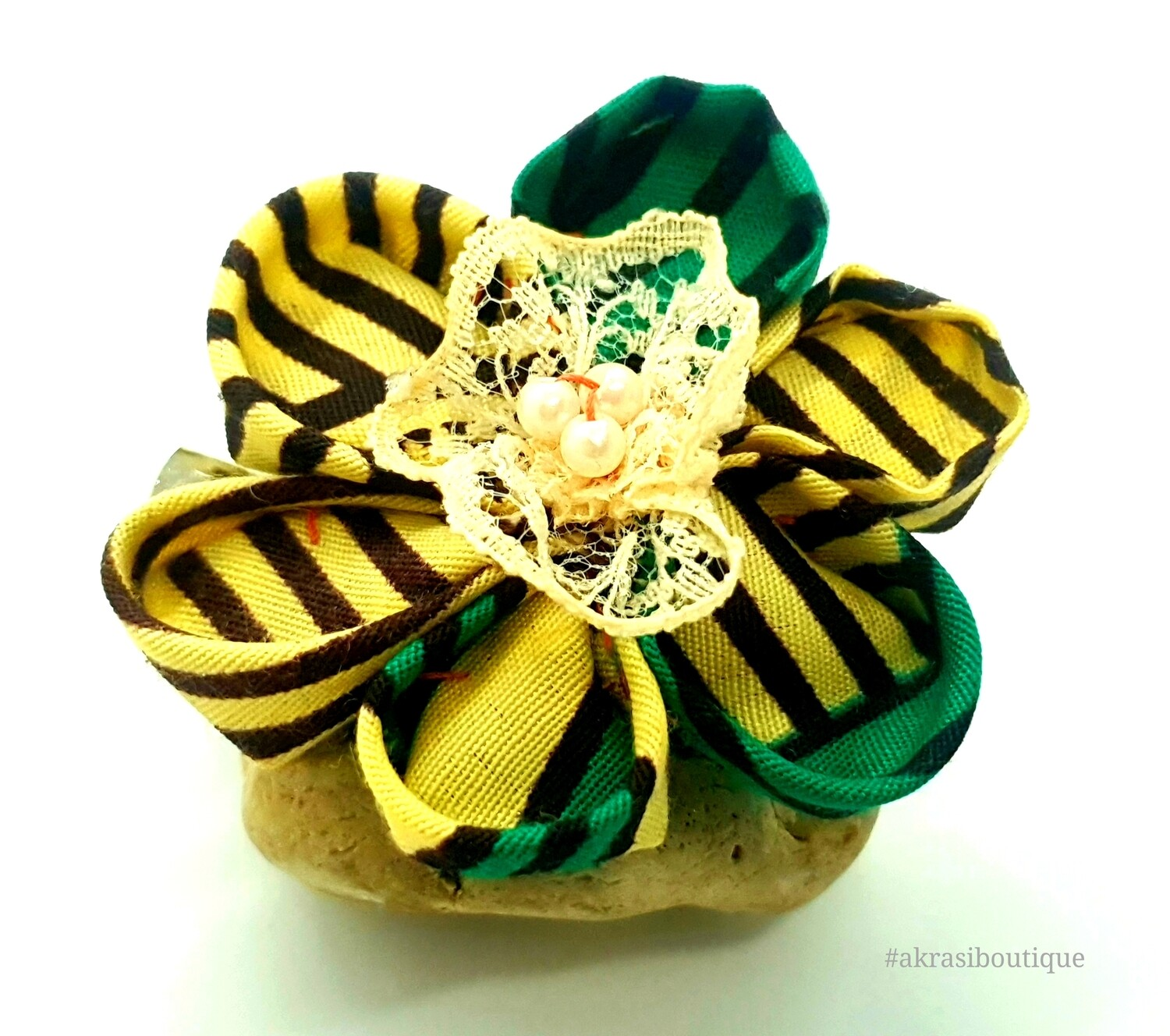 Kanzashi style flower with pearl in green, cream & brown print flower pin | fabric flower hair clip | flower brooch | clothing accessories