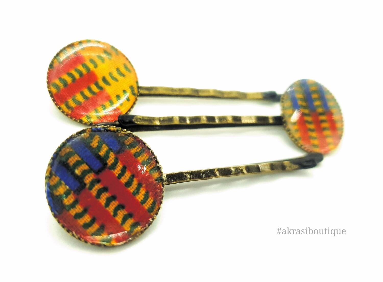 Kente bronze hair pin set   African Bobby pin   Ankara hair slide