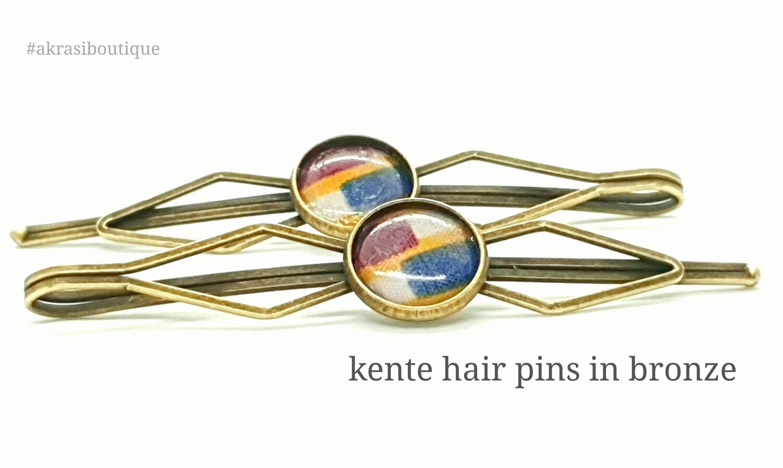 Kente detail bronze hair slide | hair pin | hair accessories
