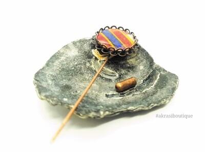 Kente detail lapel pin   ankara scarf pin   hat pin