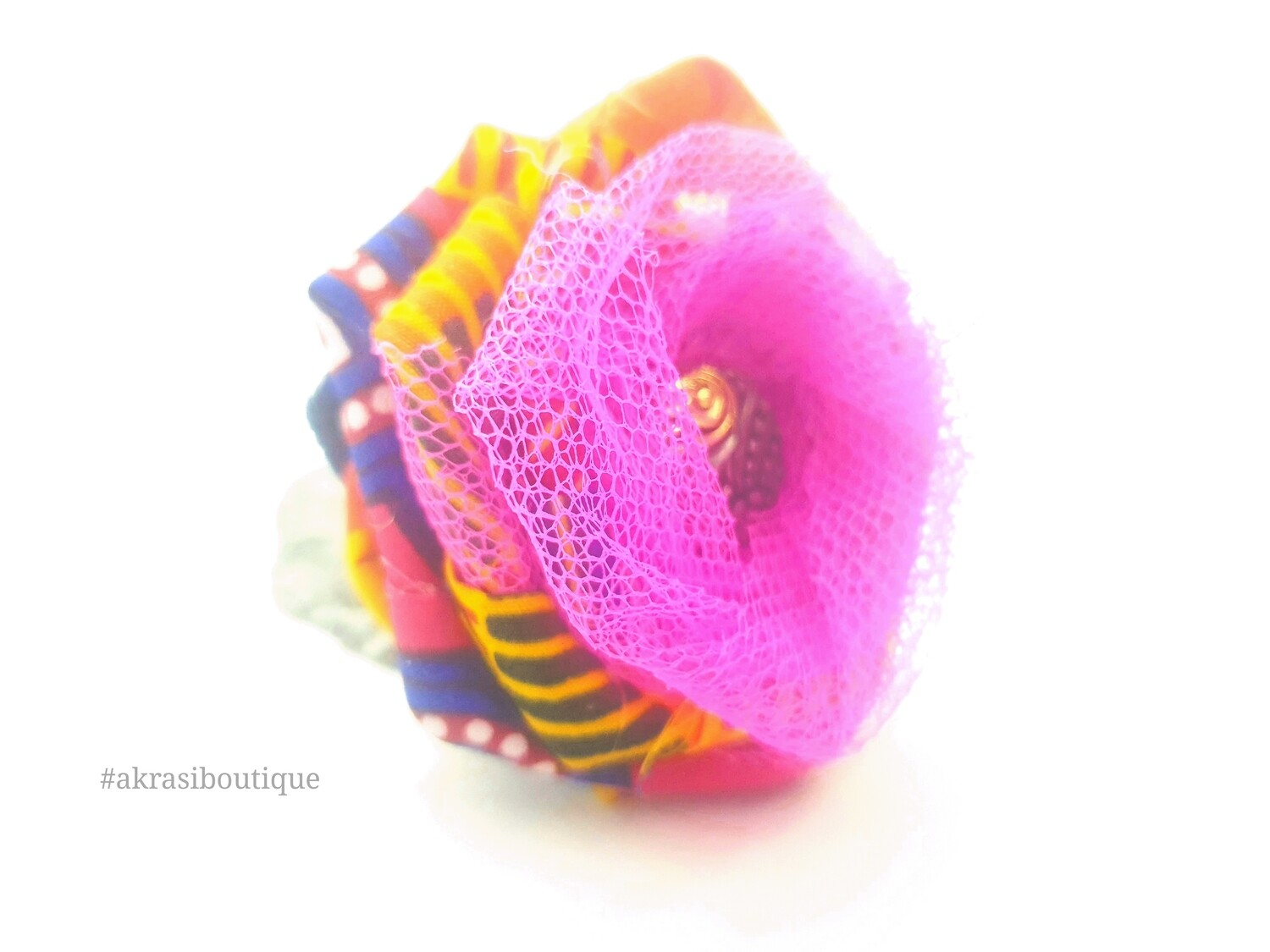 Kente fabric rose with vintage button centre | flower hair clip | flower brooch |