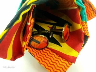 Kente pocket square with bronze cufflinks | African wax print men's accessories | Ankara pocket square | African cufflinks