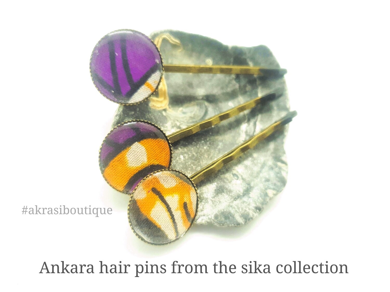 Sika hair pin set in bronze | African wax Bobby pin | Ankara hair slide