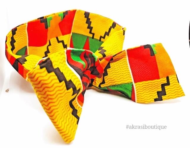 Kente print wire twist hair tie   hair wrap   headband   African print headwrap   Ankara print wire headtie   wire hair tie