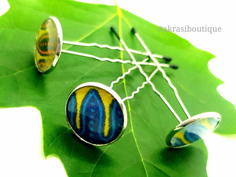 Triple Dashiki u shaped wavy hair pin set   African Bobby pins   Ankara hair slides