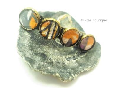 Ankara sika detail barrette hair clip in bronze