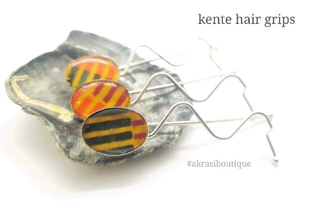 African wax kente detail wavy silver hair grip   hair slide   hair accessories