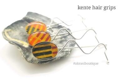 African wax kente detail wavy silver hair grip | hair slide | hair accessories