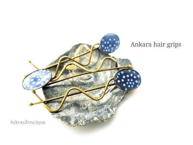 African wax blue ankara detail wavy bronze hair grip   hair slide   hair accessories