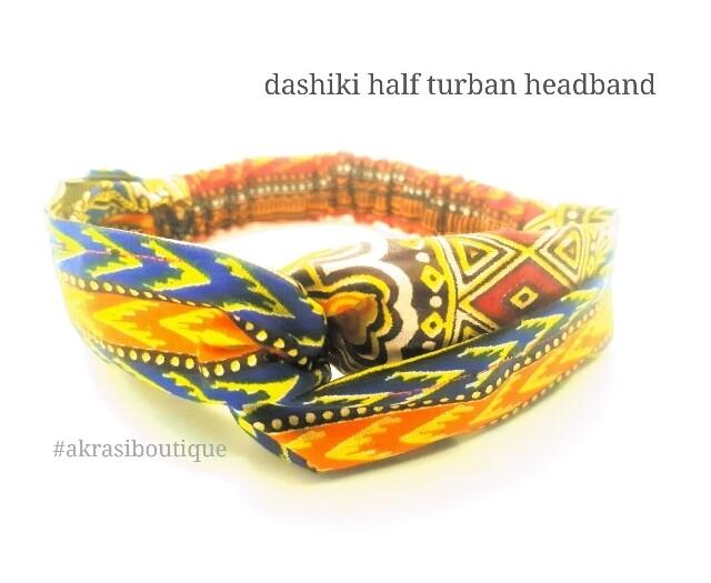 Orange Dashiki print half turban headband | African wax print headwrap | African twisted headband