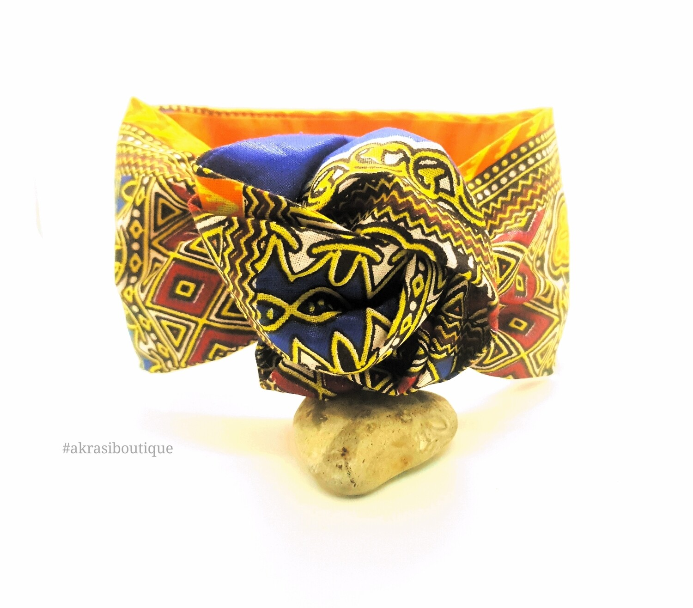 Orange and blue Dashiki print wire twist hair tie | hair wrap | headband | African print headwrap | Ankara print wire headtie | wire hair tie