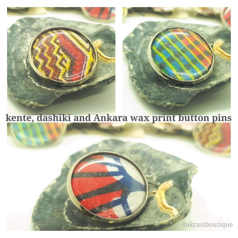African wax print button pins | Ankara button pin | Kente pin | Dashiki badge