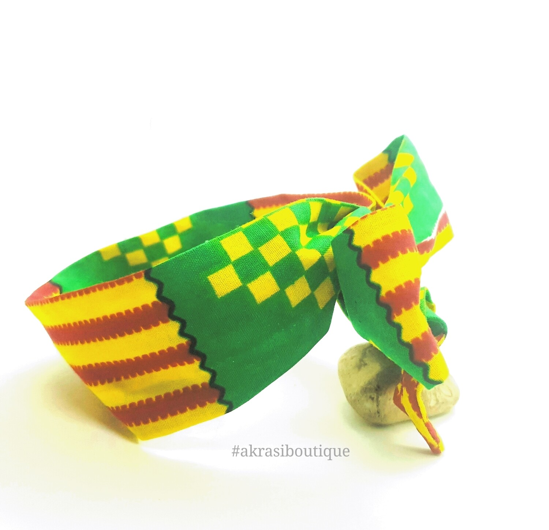Green, red and yellow Kente print wire twist hair tie | hair wrap | headband | African print headwrap | Ankara print wire headtie | wire hair tie