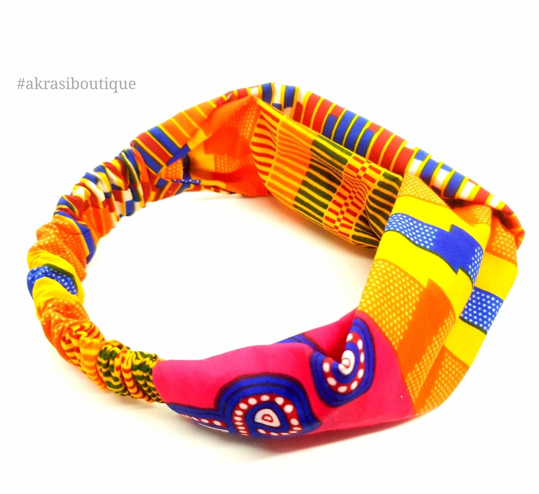 Supreme kente print half turban headband | African wax print headwrap | African twisted headband