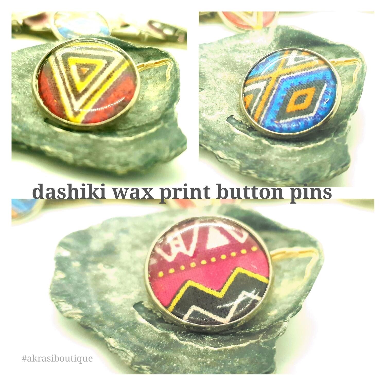 African wax print button pins | dashiki button pin