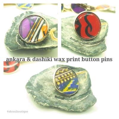 African wax print button pins   Dashiki button pin   Kente pin