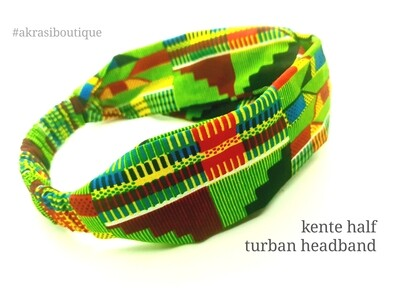 Green and red kente print half turban headband | African wax print headwrap | African twisted headband