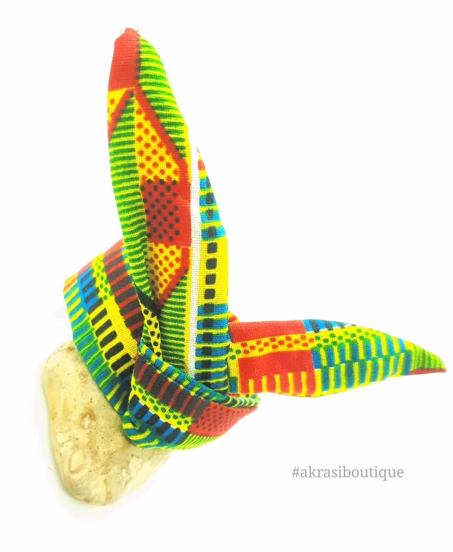 African green kente print wire twist bun tie   African print bun wrap   Ankara print headtie   wire hair tie