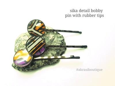 Sika hair pin set in silver | African wax Bobby pin | Ankara hair slide