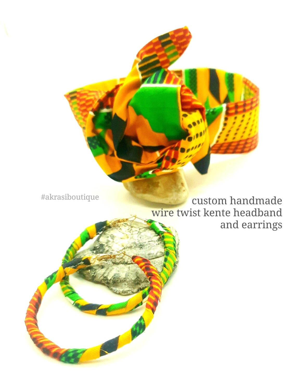 Custom handmade headband and earring kente set