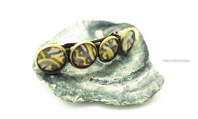 Ankara detail barrette hair clip in bronze