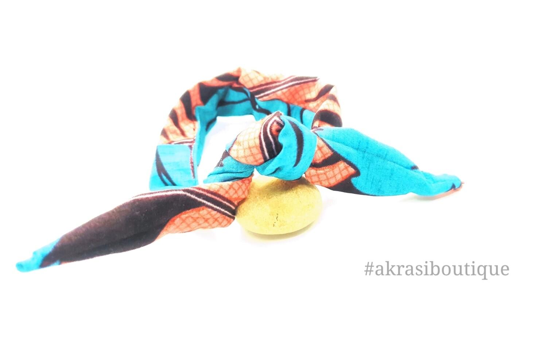 African print blue pink and brown handmade wire twist bun tie   African print bun wrap   Ankara print headtie   wire hair tie