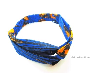 Blue and orange print half turban headband | African wax print headwrap | African twisted headband