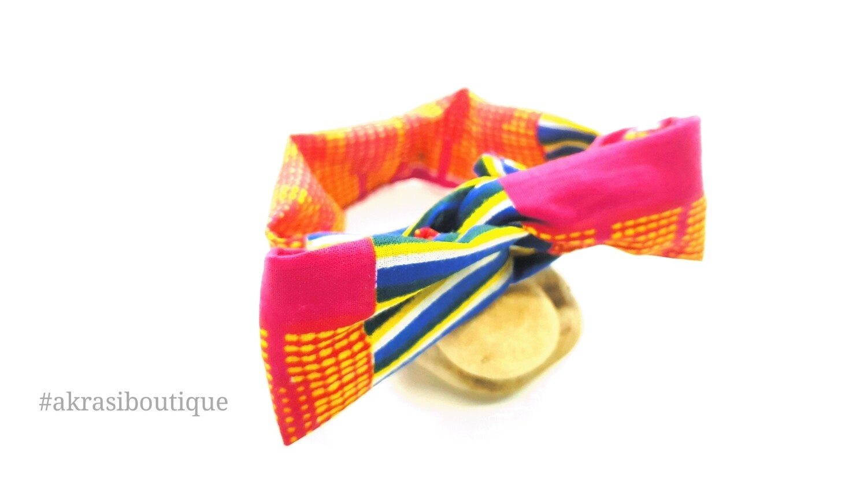 African kente print wire twist bun tie   African print bun wrap   Ankara print headtie   wire hair tie