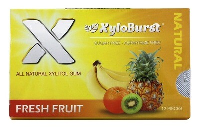 XyloBurst Xylitol Chewing Gum Fruit - 12 Pieces