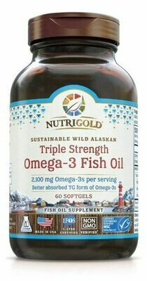 Triple Strength Omega 3 Fish Oil - 60 Softgels
