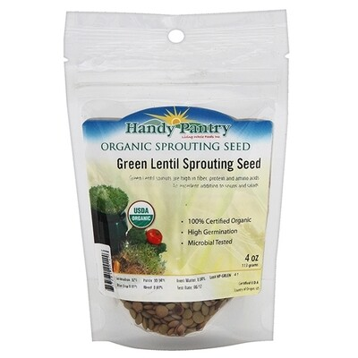 Handy Pantry Organic Sprouting Seed Green Lentil - 4 oz