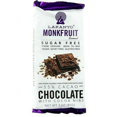 Lakanto monkfruit 55% cacao chocolate with cocoa nibs 3 oz.