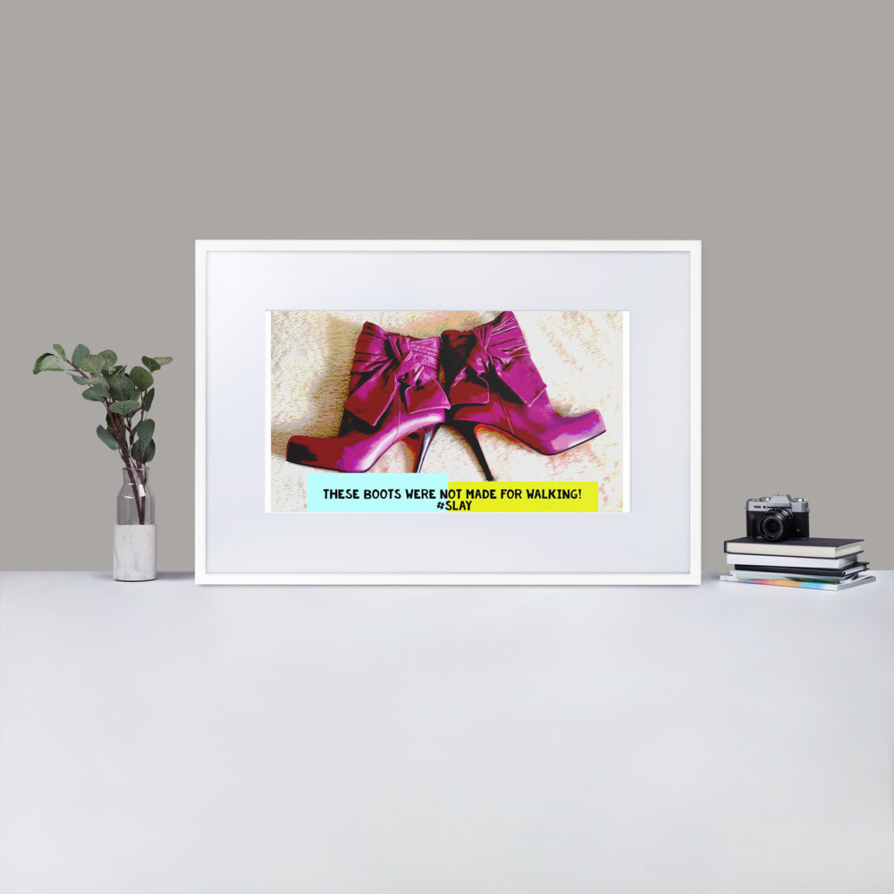 """Pink Purple Plum Red Heels"" Quirky Fashion Framed Poster"