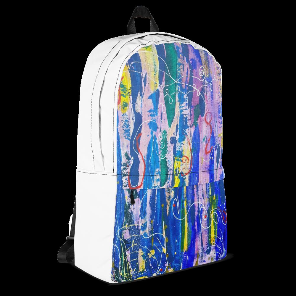 Unisex Backpack with Graffiti Art Print (White)