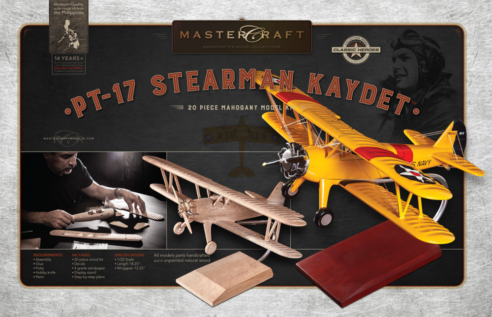 PT-17 STEARMAN KAYDET RTA SOLID MAHOGANY WOOD MODEL KIT SCALE: 1/22