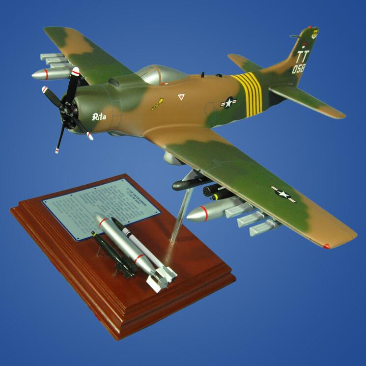 A-1H Skyraider USAF Wood Model Plane