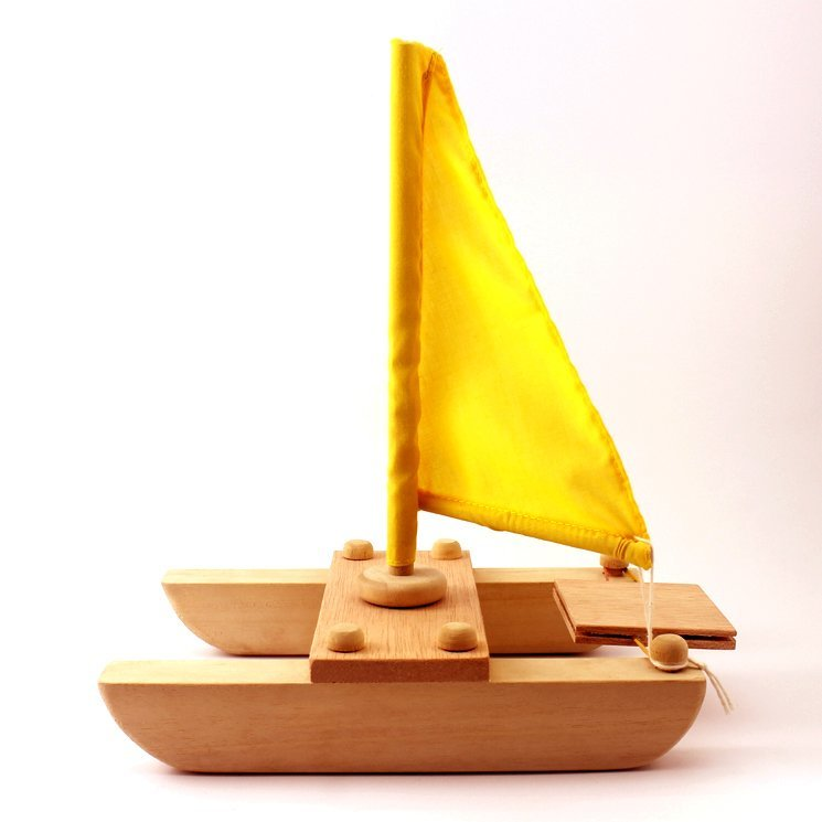 Wooden Toy Catamaran 9.25 Inches (Length)