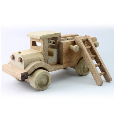 Wooden Toy Fire Truck 9.25 Inches (Length)