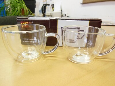 219021-1 Набор чашек с ручкой YF-6304, 2 шт х 150 мл, стекло